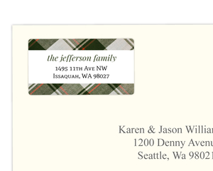 Olive Green Plaid Holiday Address Label