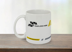 Gray and Yellow Diagonal Lines Custom Business Mug