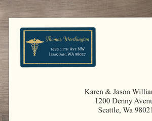 Bold Gold Faux Glitter Medical School Graduation Address Label