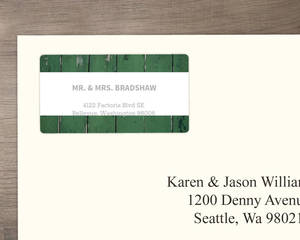 Green Wood Grain Photo Wedding Address Label