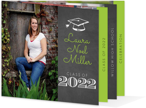 Green Chalkboard Booklet Graduation Invitation