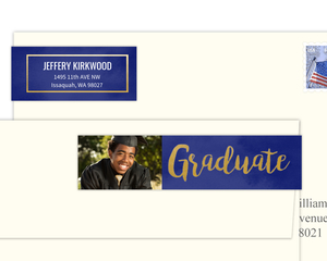 Blue Watercolor & Faux Gold Address Label