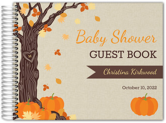Rustic Autumn Leaves Baby Shower Guest Book