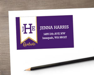 Monogram Banner Graduation Address Label