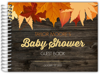 Chestnut Wood Leaves Baby Shower Guest Book