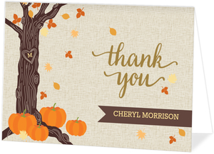 Rustic Autumn Leaves Thank You Card