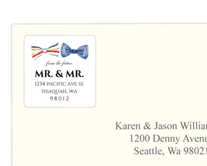 Stripped Watercolor Bow Tie Address Label