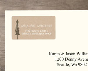 Rustic Pine Trees Wedding Address Label