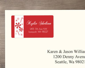 Peppermint & Candy Cane Festive Address Label