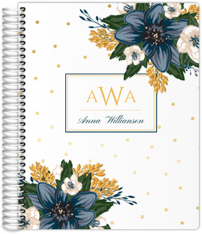 Beautiful Modern Blue Floral Teacher Planner