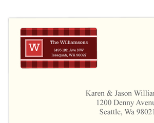 Plaid Monogram Address Label