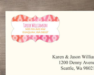 Pink Watercolor Aztec Pattern Address Label