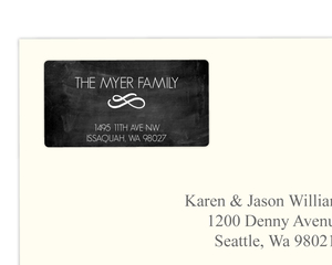 Black Circle Monogram  Address Label