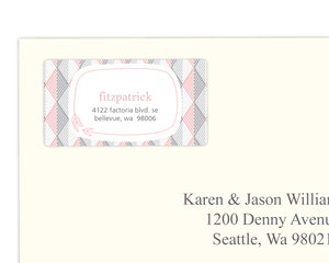 Pink And Gray Geometric Arrows Address Label