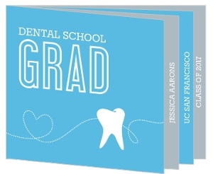 Blue and Gray Tooth Dental Graduation Invitation