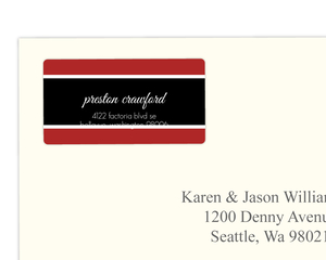 Black Stripe And Letter Address Label