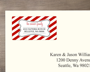 Red and White Striped  Address Label