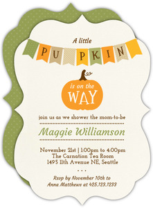 Festive Autumn Banner Baby Shower Invitation