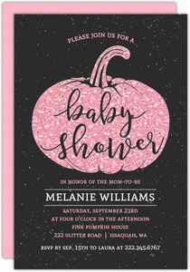 Pink Pumpkin Baby Shower Invitation