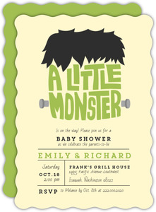 Green Little Monster Halloween Baby Shower Invitation