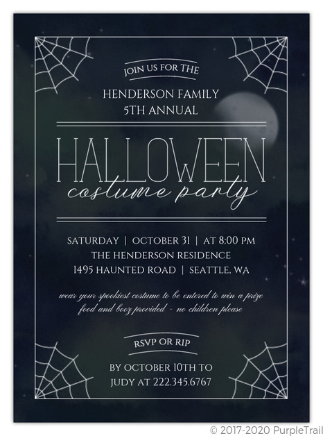 Halloween Costume Party Invitation 2020 Dark Night Halloween Costume Party Invitation | Halloween Invitations
