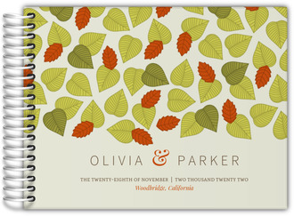 Falling Autumn Leaves Wedding Guest Book