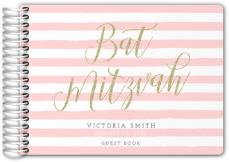 Faux Gold Glitter Bat Mitzvah Guest Book