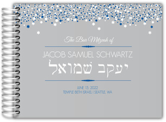 Gray and Blue Bubbles Bar Mitzvah Guest Book