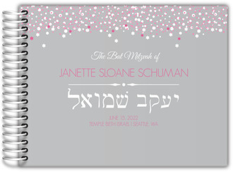 Gray and Pink Bubbles Bat Mitzvah Guest Book