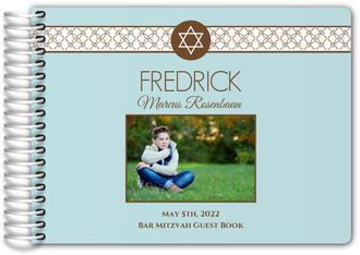Brown and White Star Pattern Bar Mitzvah Guest Book