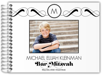 Formal Monogram Bar Mitzvah Guest Book