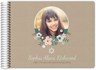 Mint Star of David Bat Mitzvah Guest Book