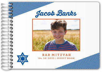 Blue and Orange Modern Chevron Bar Mitzvah Guest Book