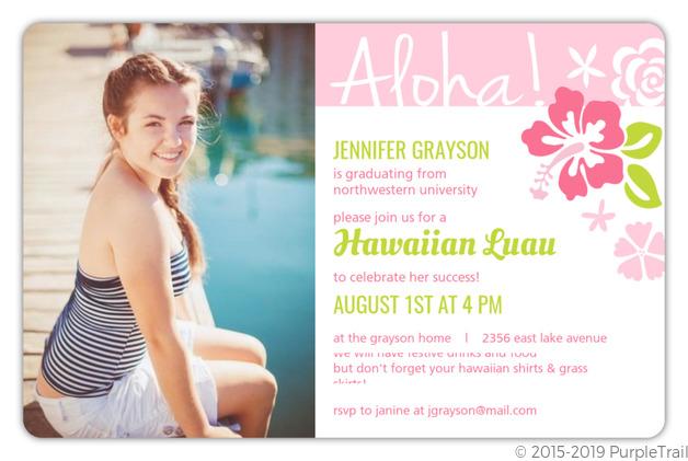 Pink Hawaiian Flowers Graduation Invitation