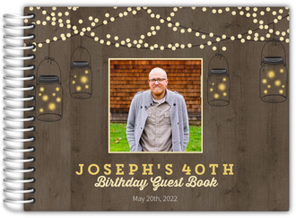 Rustic String Lights Birthday Guest Book
