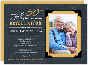Yellow Vintage Frame Anniversary Party Invitation