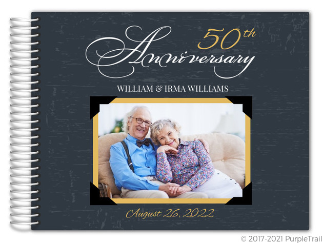 Yellow Vintage Frame Anniversary Guest Book Anniversary Guest Books
