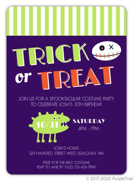 Costume Trick Or Treat Halloween Birthday Invitation