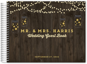 Dark Rustic String Lights Wedding Guest Book