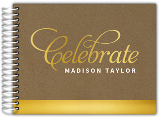 Celebrate Gold & Kraft Birthday Guest Book