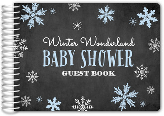 Falling Snowflakes Winter Wonderland Baby Shower Guest Book