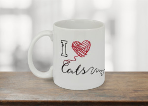 Black & Red I Heart Cats Coffee Mug