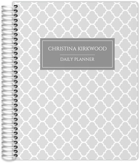 Gray Quatrefoil Pattern Daily Planner