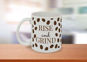 Rise and Grind Coffee Beans Pattern Custom Mug