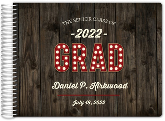 Rustic Dark Woodgrain Graduation Guest Book