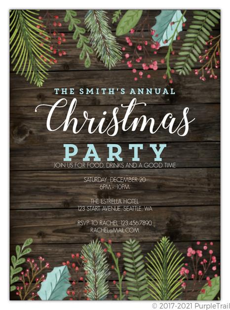 Christmas Party Invitation.Woodgrain Holiday Leaves Christmas Party Invitation