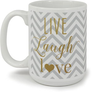 Faux Gold Foil Live Laugh Love Coffee Mug