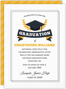 Gray & Yellow Stripe Graduation Invitation