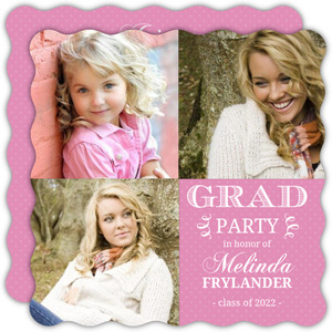Pretty Pink Polka Dots Graduation Invitation