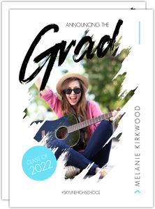 Modern Painted Photo Graduation Announcement